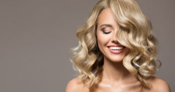 Woman with a blond healthy hair