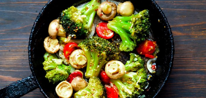 Vegetable mix and mushroom in authentic pan