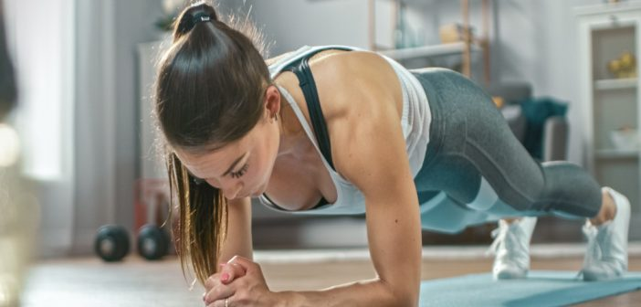 Girl doing a plank exercise